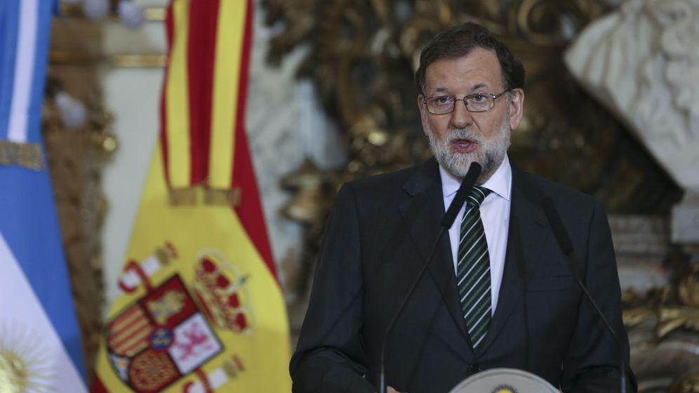 Foto: El presidente del Gobierno de España, Mariano Rajoy, en la rueda de prensa ofrecida en la Casa Rosada. (EFE)