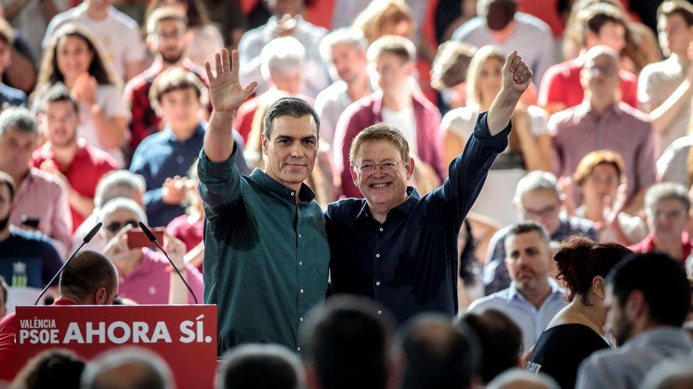 Foto:  Pedro Sánchez y Ximo Puig en un mitin de campaña del PSOE. (EFE)