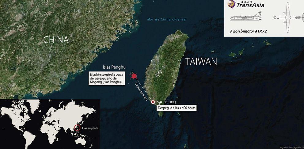 Foto: Mapa que indica la zona de las islas Penghu (Taiwán) donde se ha producido el accidente. (EFE)