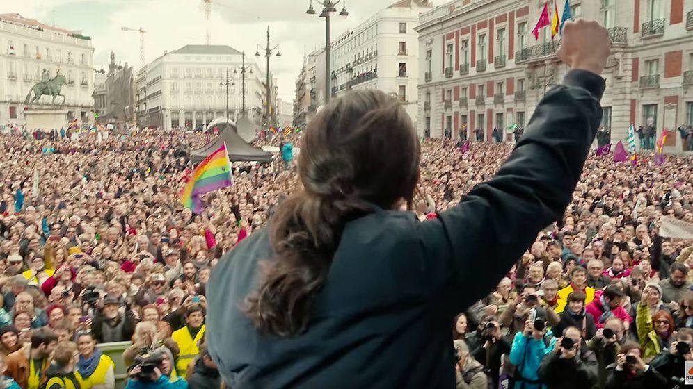 Foto: Pablo Iglesias, líder de Podemos, en un mitin en la Puerta del Sol.