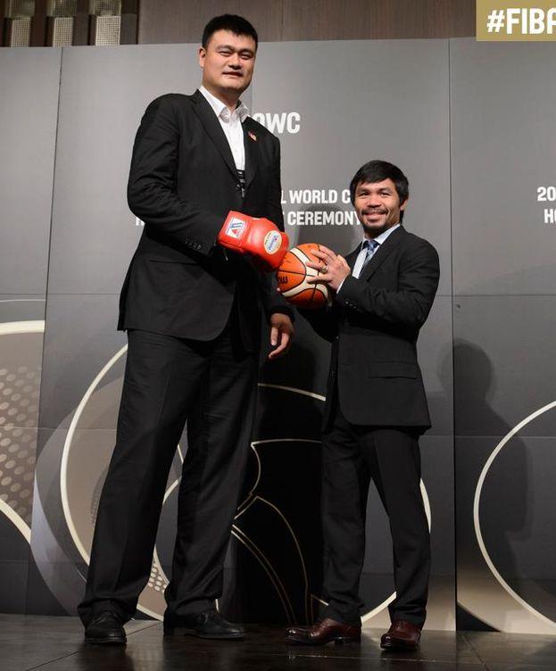 Foto: Yao Ming y Manny Pacquiao apoyaron las candidaturas de sus países (Foto: FIBA)