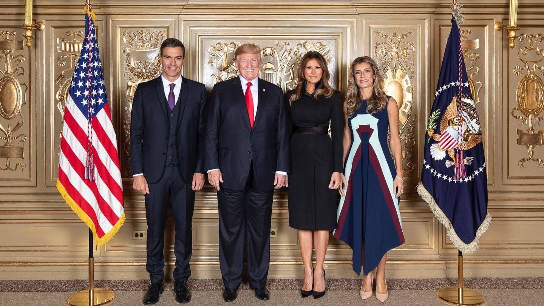 Pedro Sánchez, Donald y Melania Trump y Begoña Gómez en Nueva York.