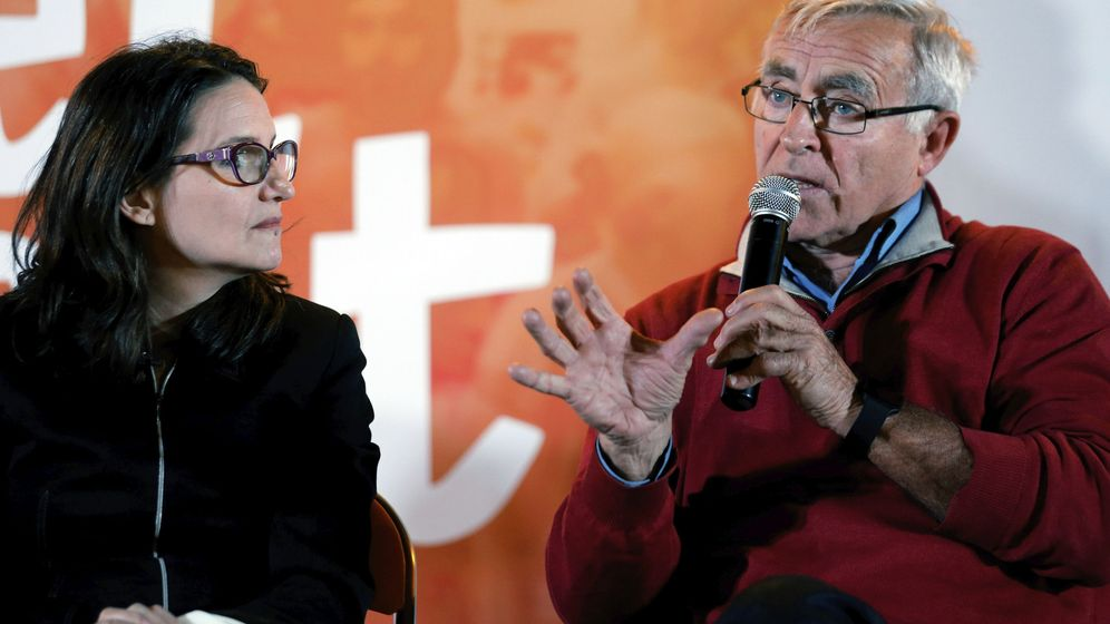 Foto: Mónica Oltra y Joan Ribó en un acto electoral de Compromís. (Efe)