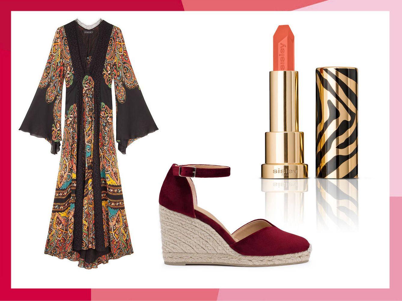 Vestido de Etro, alpargatas de Castañer y y labial en tono Ibiza de Le Phyto Rouge de Sisley.