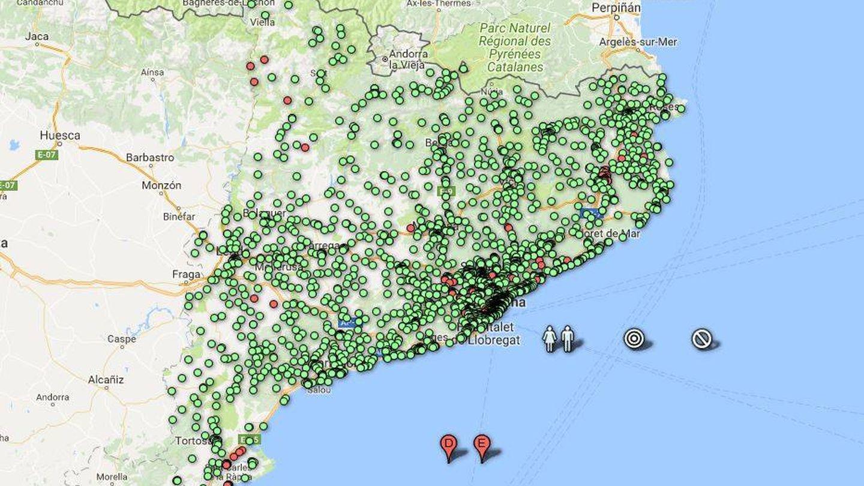 El estado de los colegios en un clon de la web de la Generalitat. En rojo, los colegios cerrados o que no pudieron abrir.