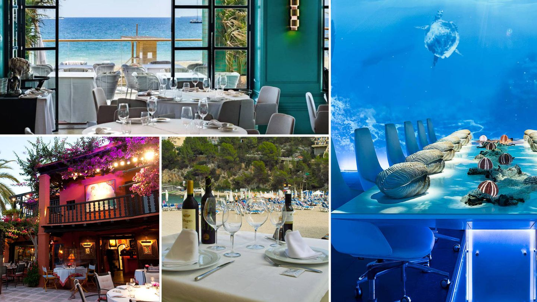 En sentido de las agujas del reloj: Tatel Ibiza, Sublimotion, Dos Lunas y Port Balansat.