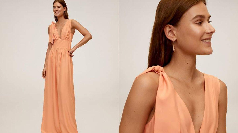 Un vestido color melocotón de Mango por 70 euros. (Cortesía)