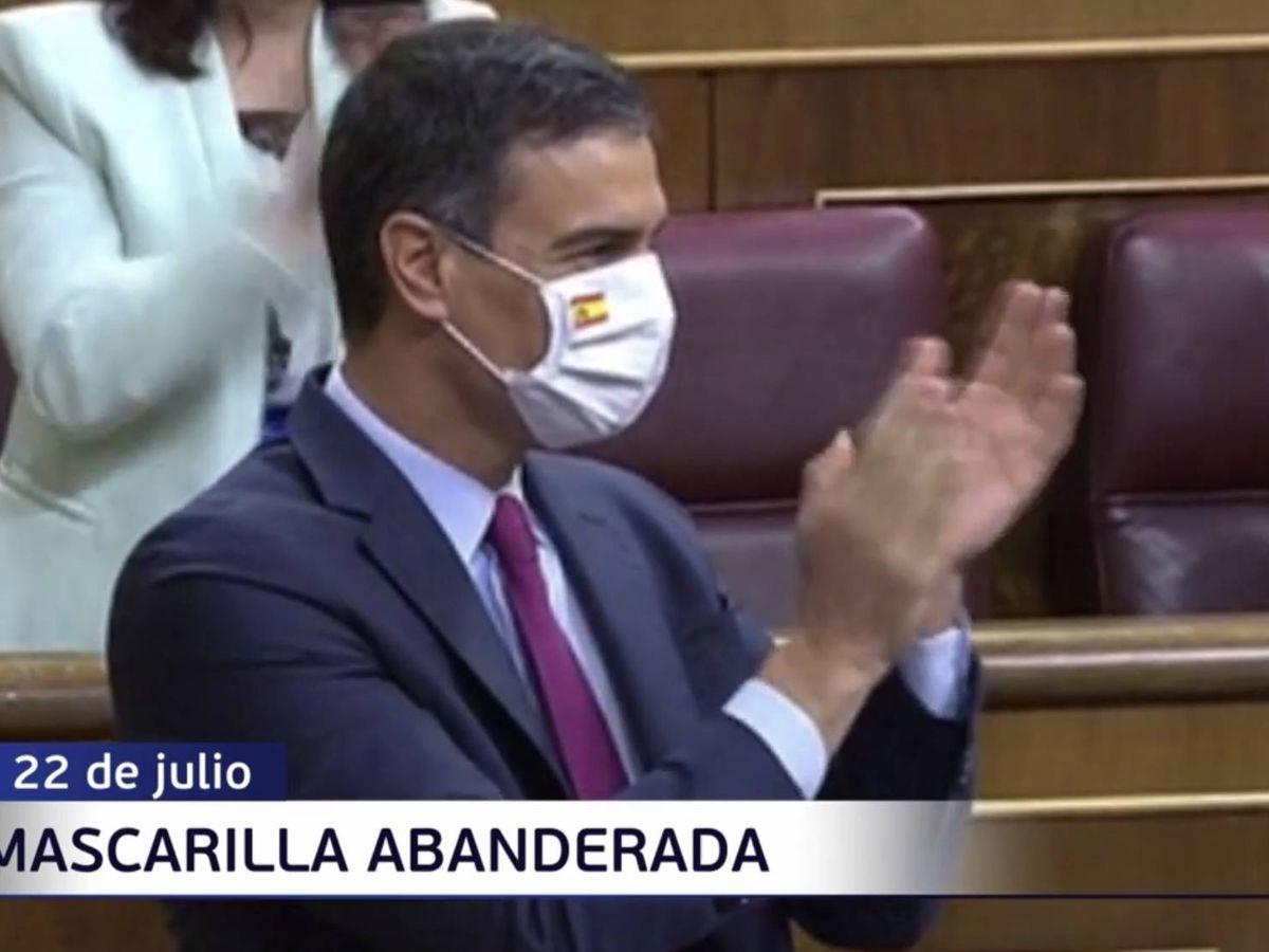 Foto: Pedro Sánchez, con una mascarilla con la bandera de España. (Mediaset España)