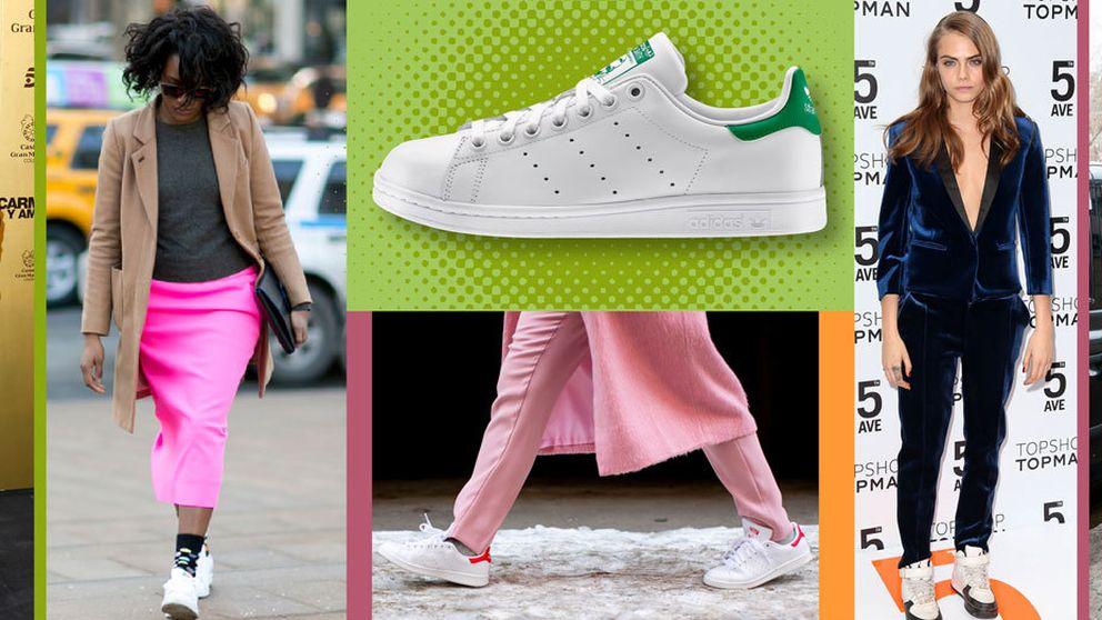 Así se llevan las zapatillas blancas