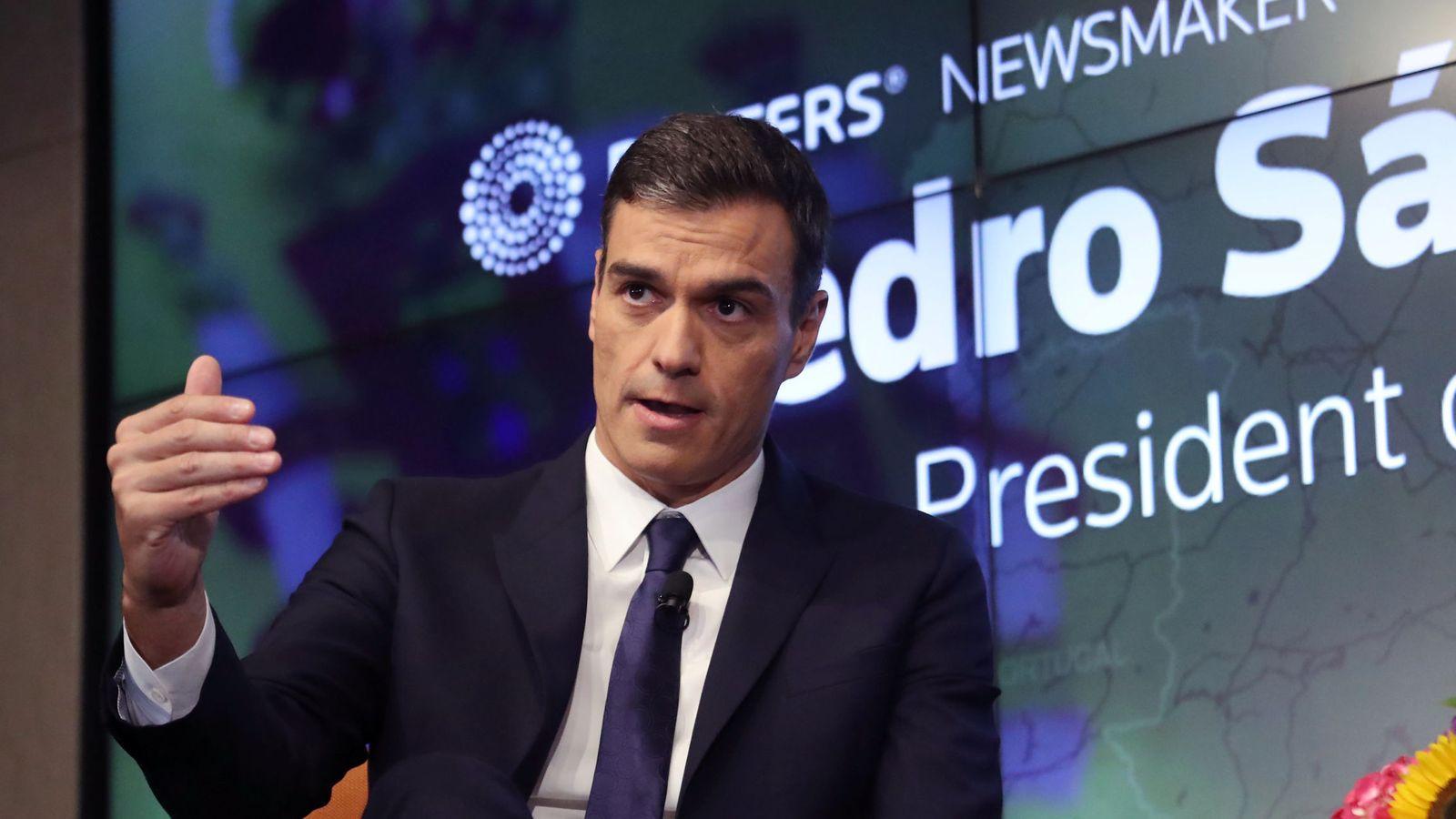Foto: Pedro Sánchez, este 27 de septiembre en el Foro Reuters en Nueva York. (Reuters)