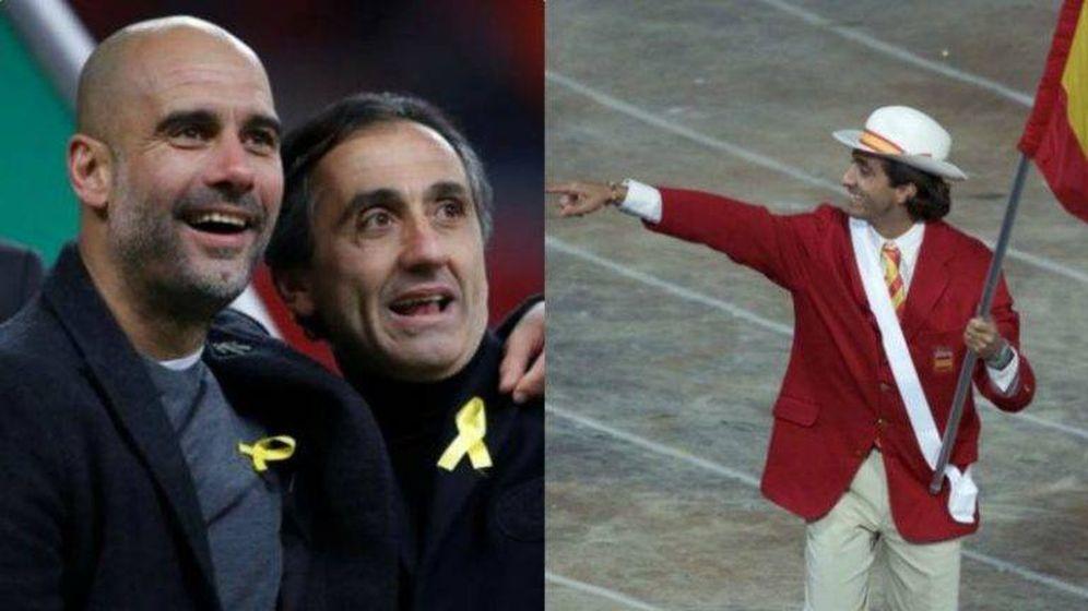Foto: Manel Estiarte, junto a Guardiola luciendo el lazo amarillo, y cuando fue abanderado olímpico de España en Sidney 2000.