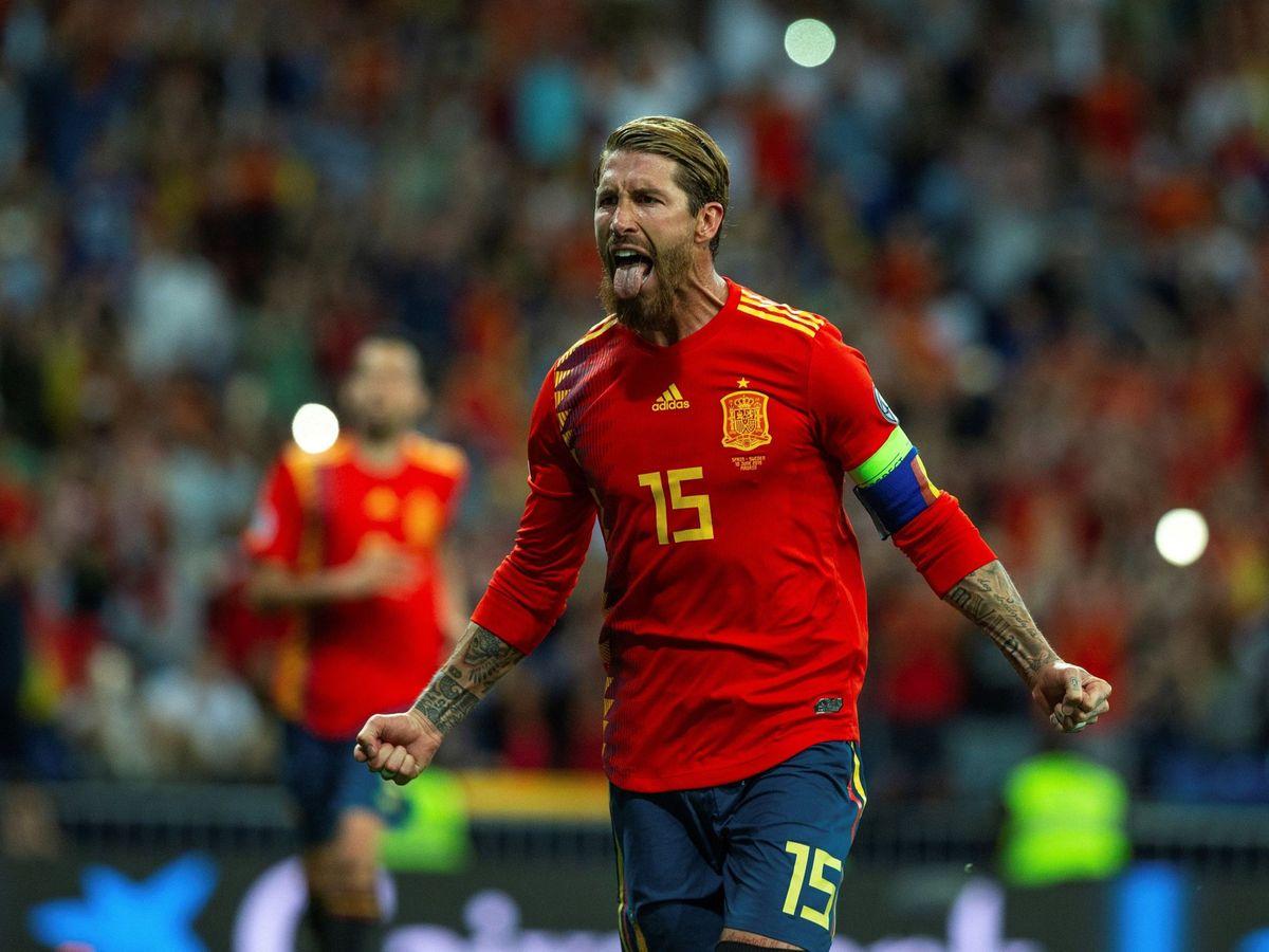Foto: Sergio Ramos celebra uno de sus tantos con la Selección. (EFE)