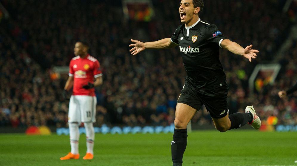 Foto: Wissam Ben Yedder del Sevilla celebra después de anotar su segundo gol. (EFE)