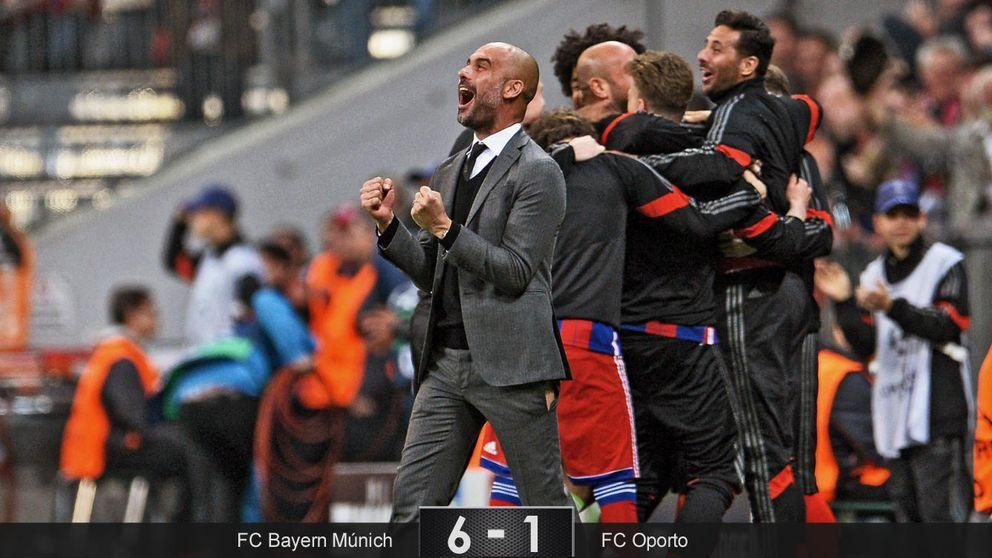 A Guardiola se le rompió el pantalón, aunque para roto el de su Bayern al Oporto