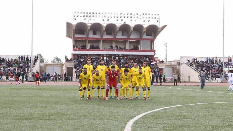 El once del Al-Karkh antes del partido contra el Mosul. (Twitter/iraq_football_)