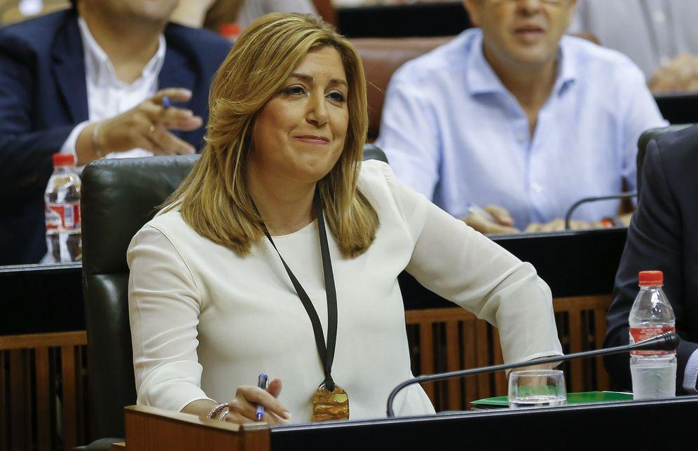 Foto: Susana Díaz, en su escaño durante la sesión de control al Gobierno, este 7 de julio en el Parlamento de Andalucía. (EFE)