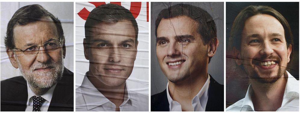 Foto: Carteles de campaña de los candidatos a las elecciones generales del 20-D de los principales partidos: Mariano Rajoy, Pedro Sánchez, Albert Rivera y Pablo Iglesias. (Reuters)