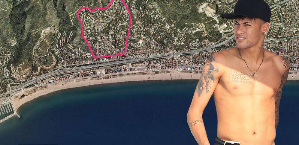Foto: Neymar y la urbanización de Castelldefels, donde tiene su casa. (Vanitatis)