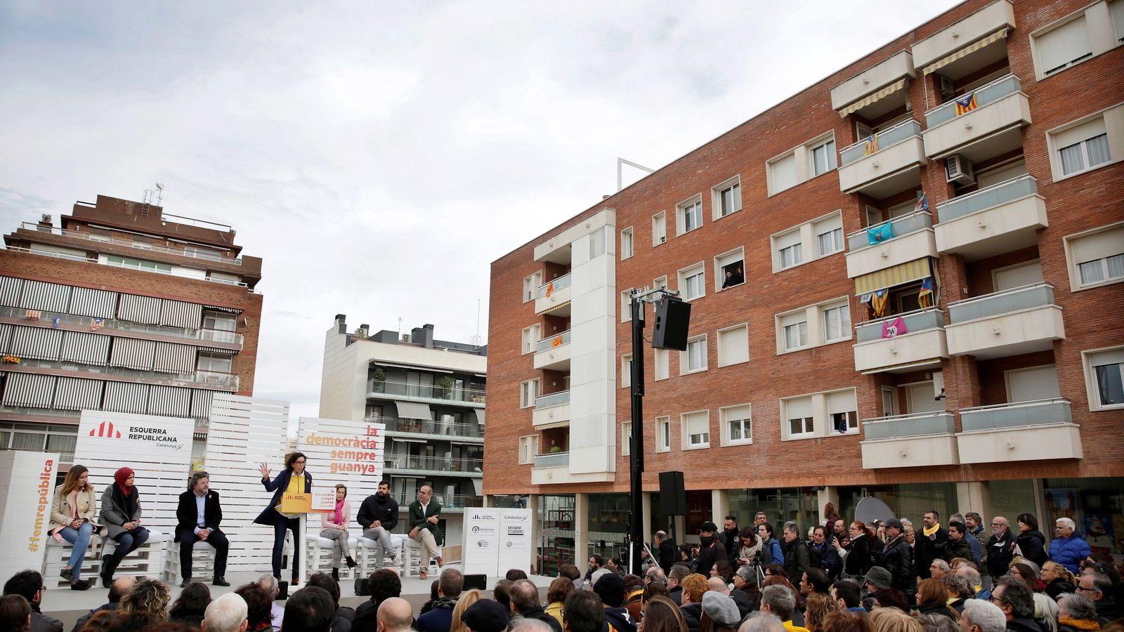 Foto: Acto electoral de ERC en Badalona. (EFE)