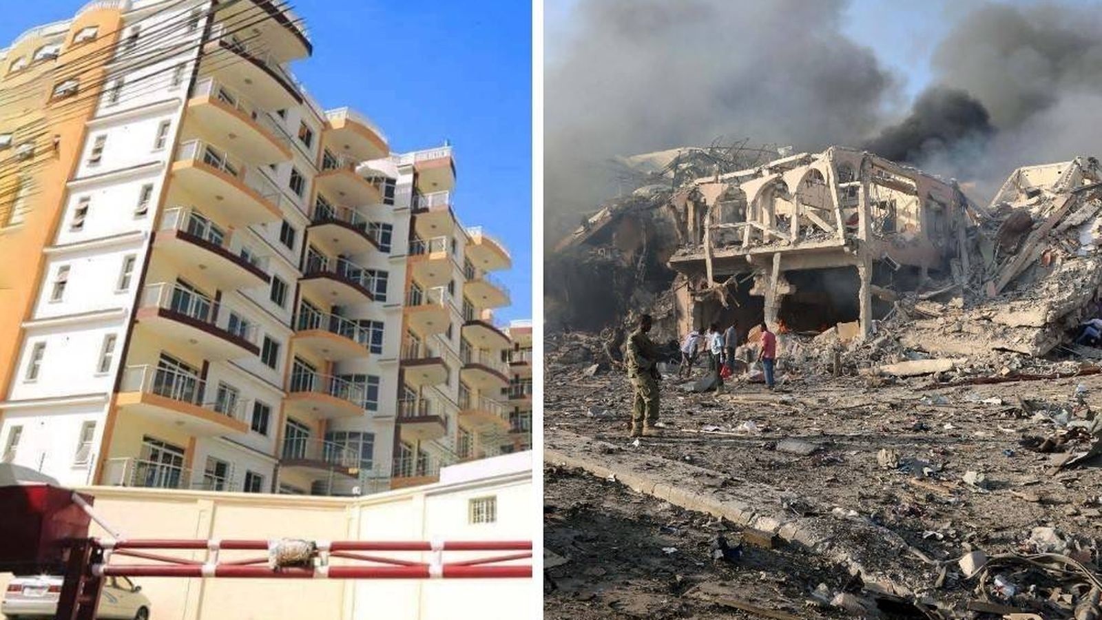 Foto: Antes y después de la explosión de un camión bomba frente al hotel Safari en Mogadiscio.