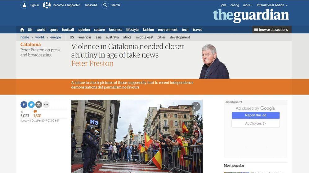 Foto: El artículo que ha publicado el exdirector de 'The Guardian', Peter Preston.