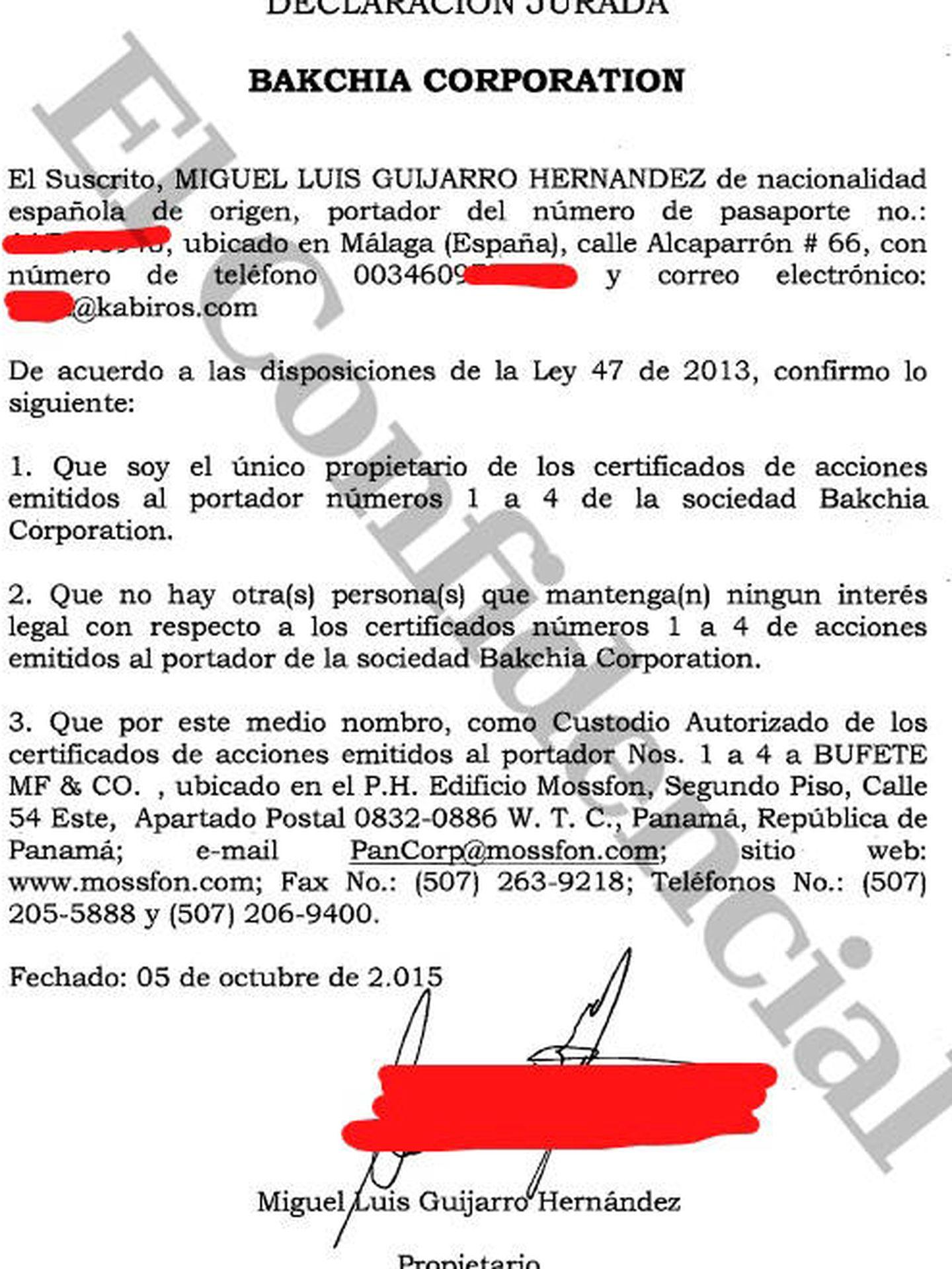Guijarro, único propietario de las acciones de Bakchia Corp.
