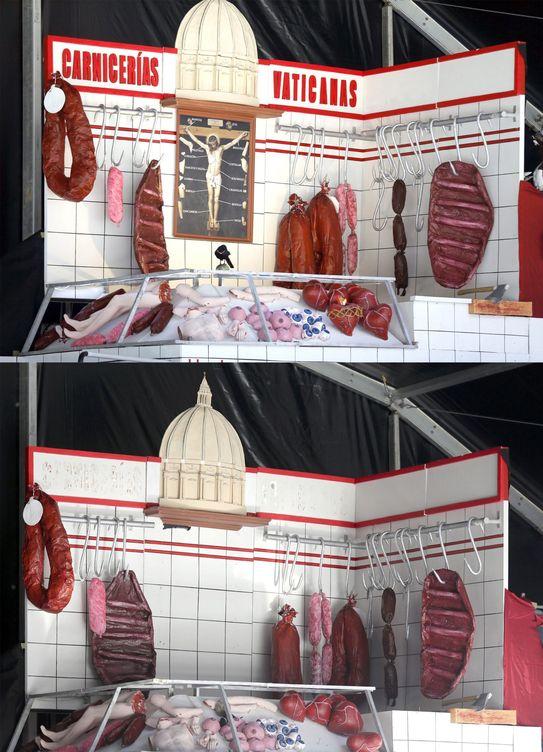 Foto: Composición con el antes y el después de la decoración de la caseta festiva de la comparsa Hontzak en el Arenal de Bilbao. (EFE)