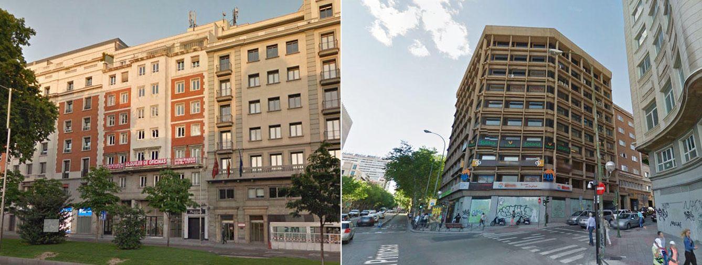 Foto: La sede que estrenará Ciudadanos en Paseo de Recoletos, 16 (izq) y el 'centro de operaciones' de Podemos ubicado en calle Princesa 2. (Google)