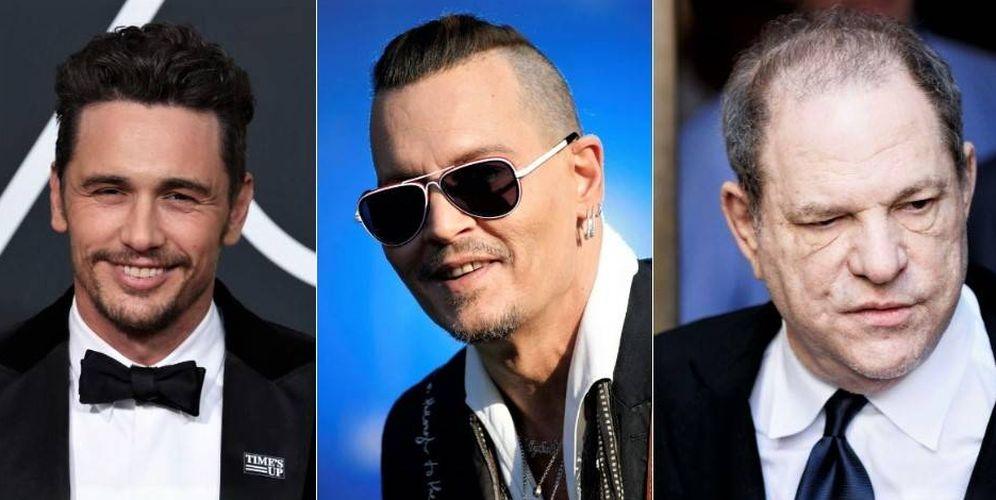 Foto: James Franco, Johnny Depp y Harvey Weinstein.