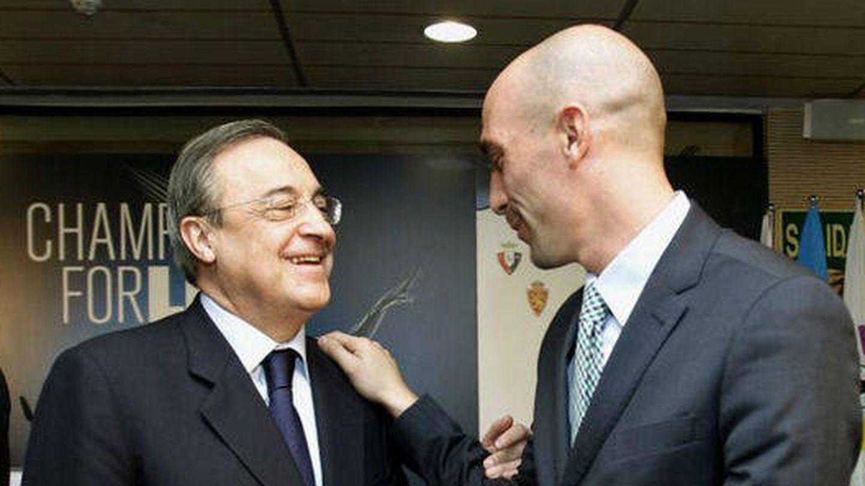 Florentino Pérez y Luis Rubiales. (EFE)