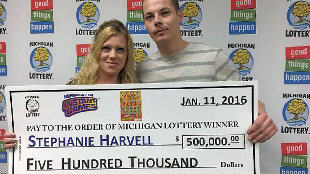 Foto: Stephanie Harvell y Mitchell Arnswald. Foto: Michigan Lottery