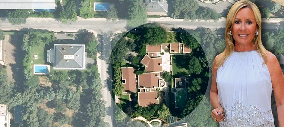 Foto: Marina Castaño sobre una imagen aérea de su casa (Google Maps)