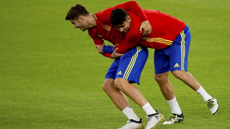 Morata y Diego Costa, en un entrenamiento. (EFE)