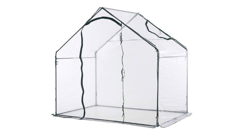 Invernadero transparente de jardín para proteger plantas de temperaturas extremas