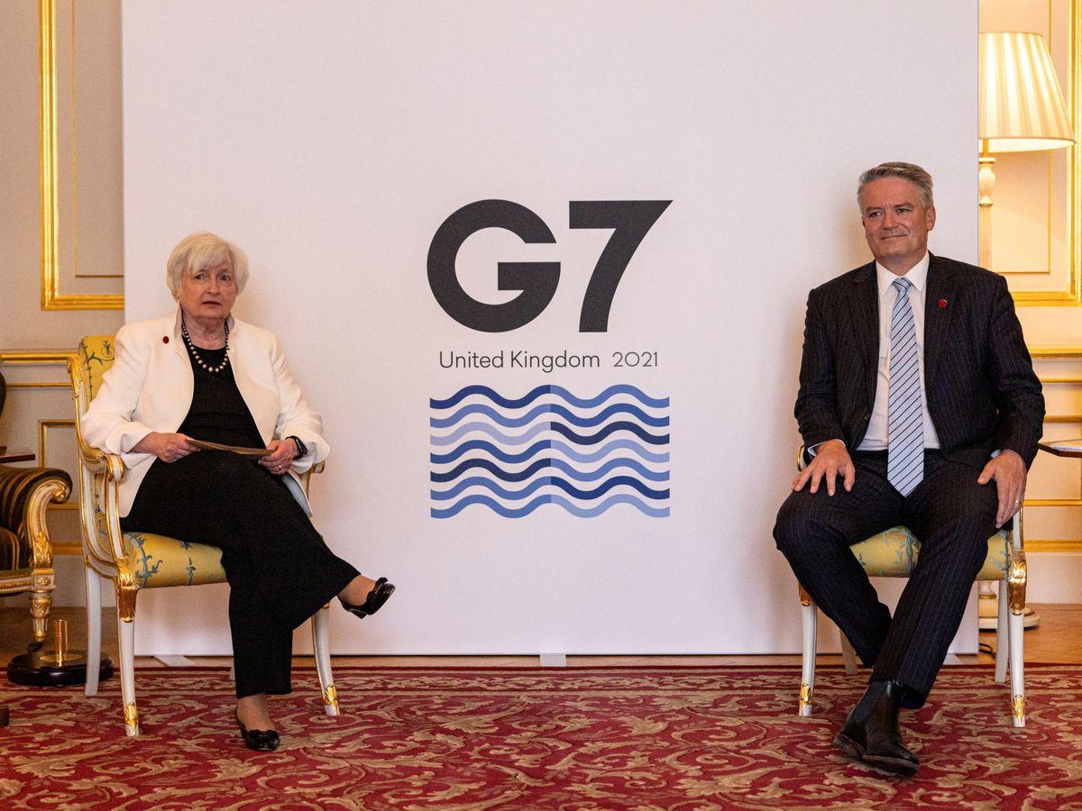 Foto: La secretaria del Tesoro de EEUU y el secretario general de la OCDE, durante la reunión del G-7. (Reuters)