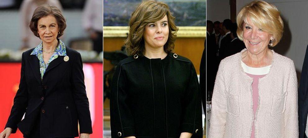 Foto: La Reina, Soraya Sáenz de Santamaría y Esperanza Aguirre (Gtres)