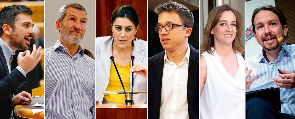 Foto: De izq. a der.: Ramón Espinar, Julio Rodríguez, Lorena Ruiz-Huerta, Íñigo Errejón, Tania Sánchez y Pablo Iglesias. (EFE)