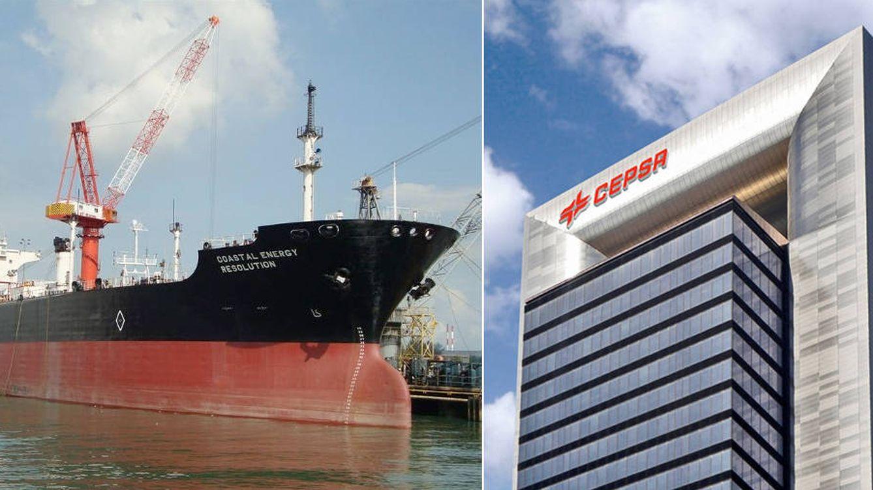 Foto: A la izquierda, el buque Coastal Energy Resolution, que perteneció a Cepsa; a la derecha, sede de la petrolera en Madrid. (Montaje: E. Villarino)