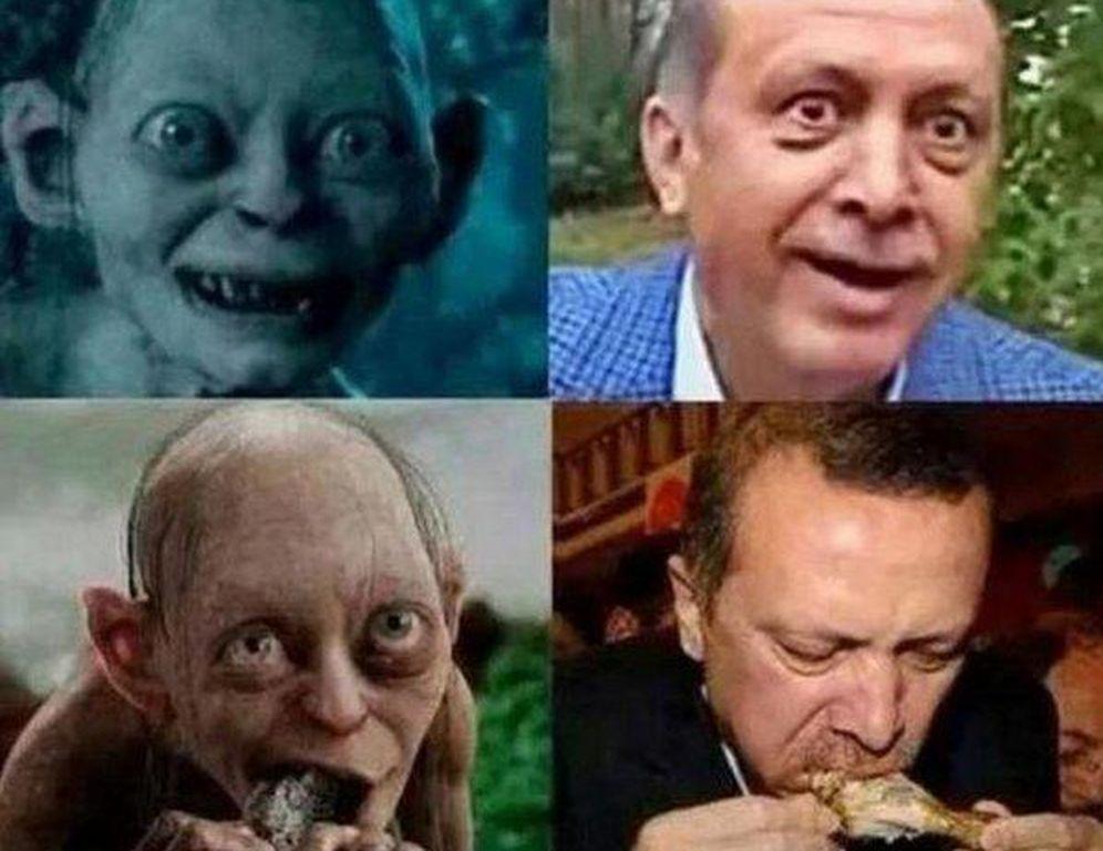 Foto: Algunas de las imágenes difundidas por el doctor Çiftçi comparando al Presidente Erdogan con el personaje de 'El Señor de los Anillos'