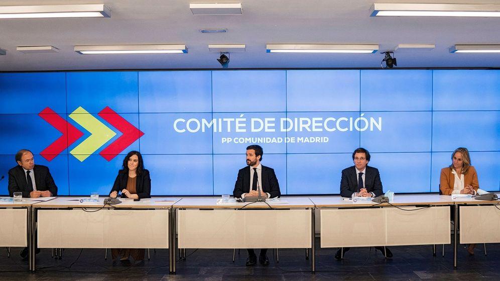 Foto: Pablo Casado preside el comité de dirección de Madrid junto a Ayuso, Almeida y Ana Camins. (EFE)