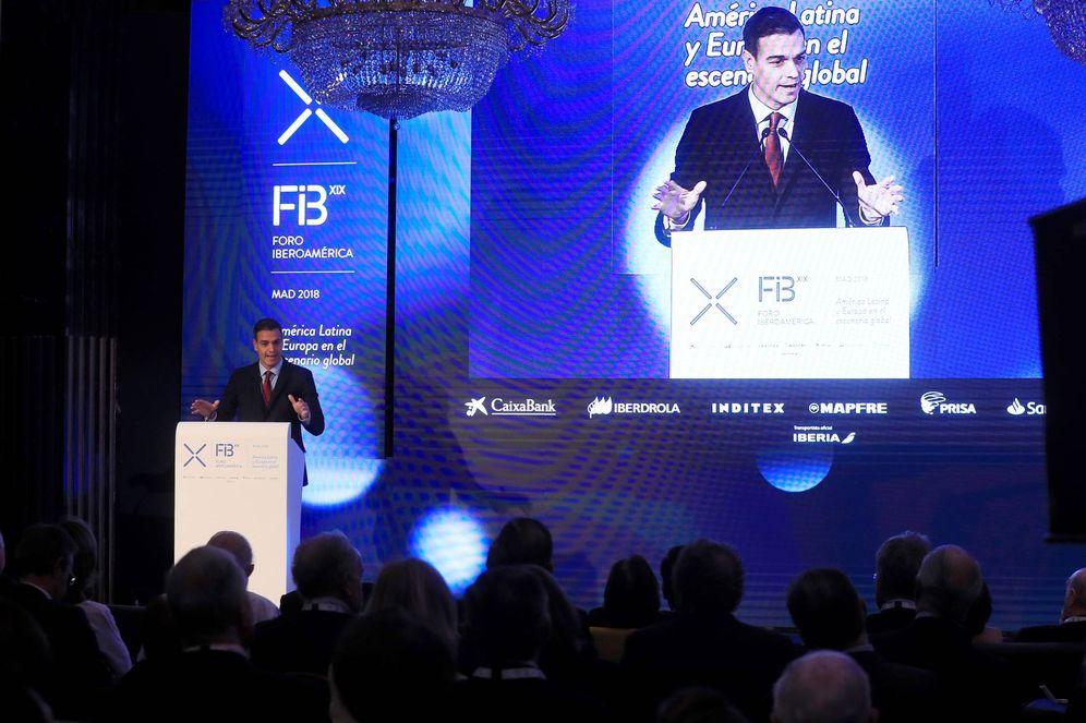 Foto: Pedro Sánchez, en la inauguración, este 9 de noviembre en Madrid, de la XIX Edición del Foro Iberoamérica. (EFE)