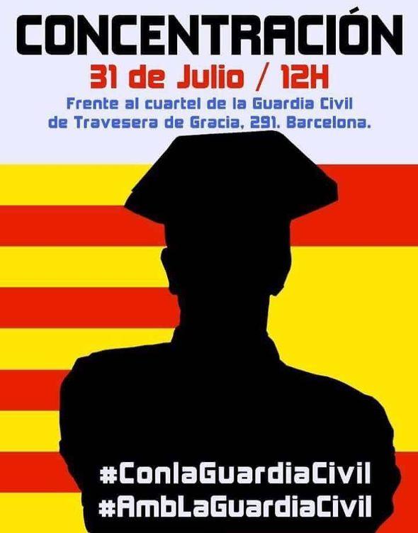Foto: Cartel de la concentración frente al cuartel de la Guardia Civil.
