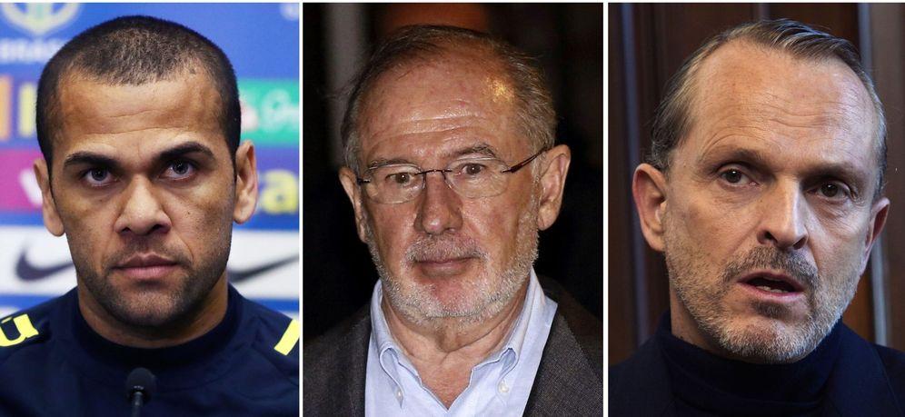 Foto: El exvicepresidente del Gobierno español Rodrigo Rato (c), el cantante Miguel Bosé (d) y el futbolista Dani Alves (i), que han entrado en la lista de morosos. (EFE)