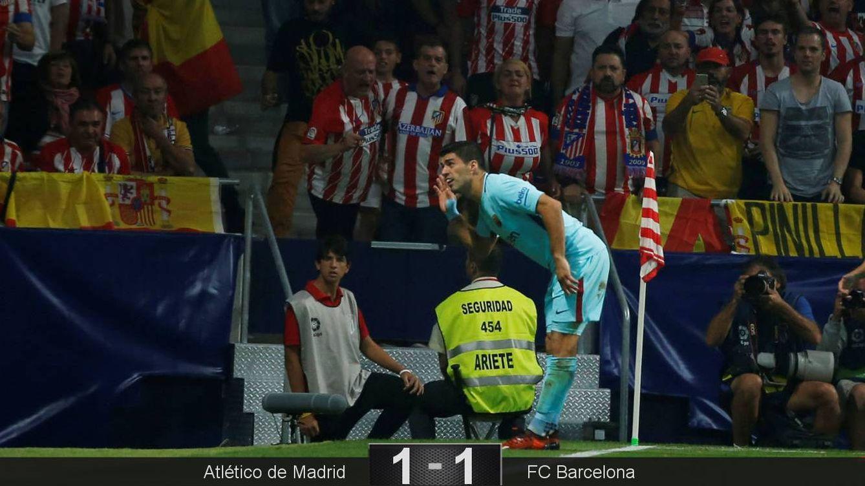 Foto: Así celebró Luis Suárez el gol del empate del FC Barcelona ante el Atlético de Madrid. (Reuters)