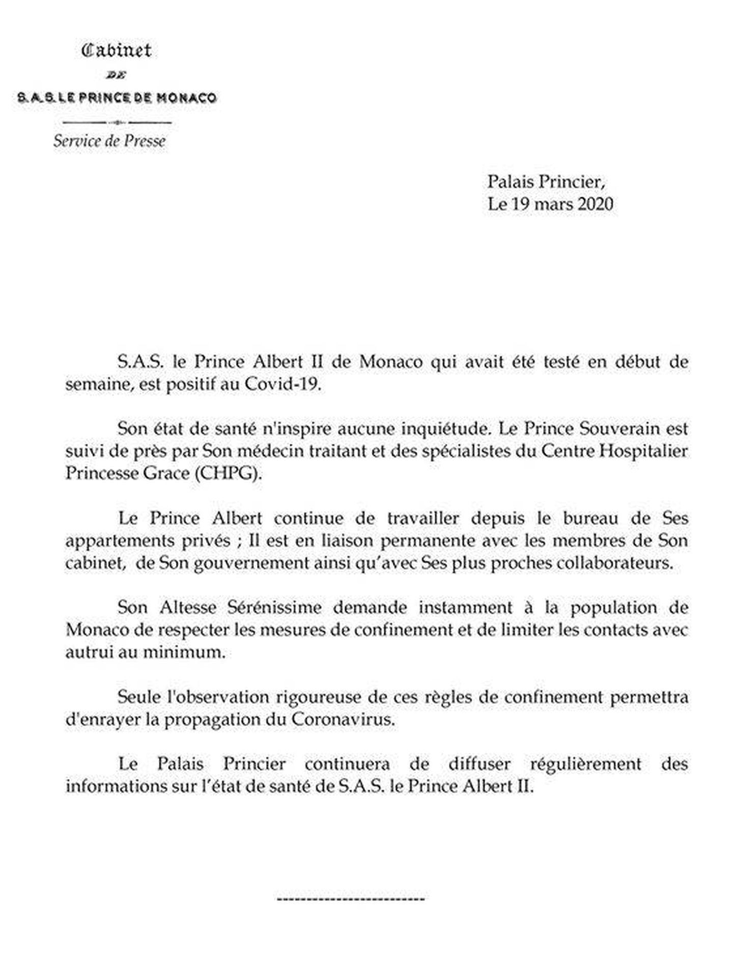 Comunicado emitido por el Palacio del Príncipe. (Palais Princier)