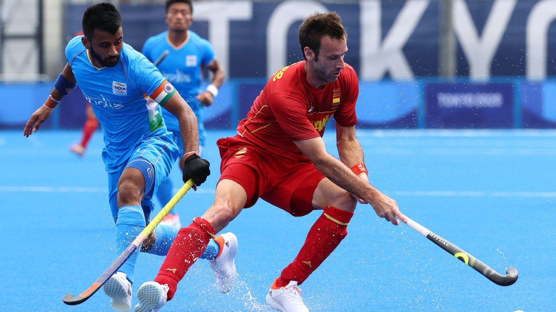 David Alegre, durante una acción en el partido contra India. (Reuters)