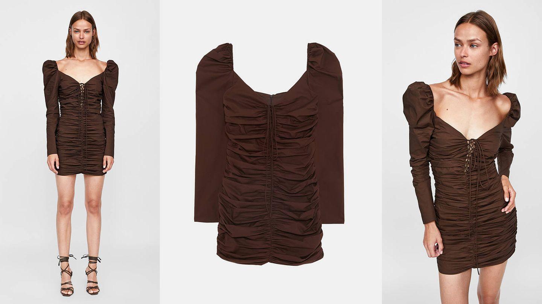 Este es el vestido drapeado de Zara seleccionado por las its italianas. (Imágenes: Zara)