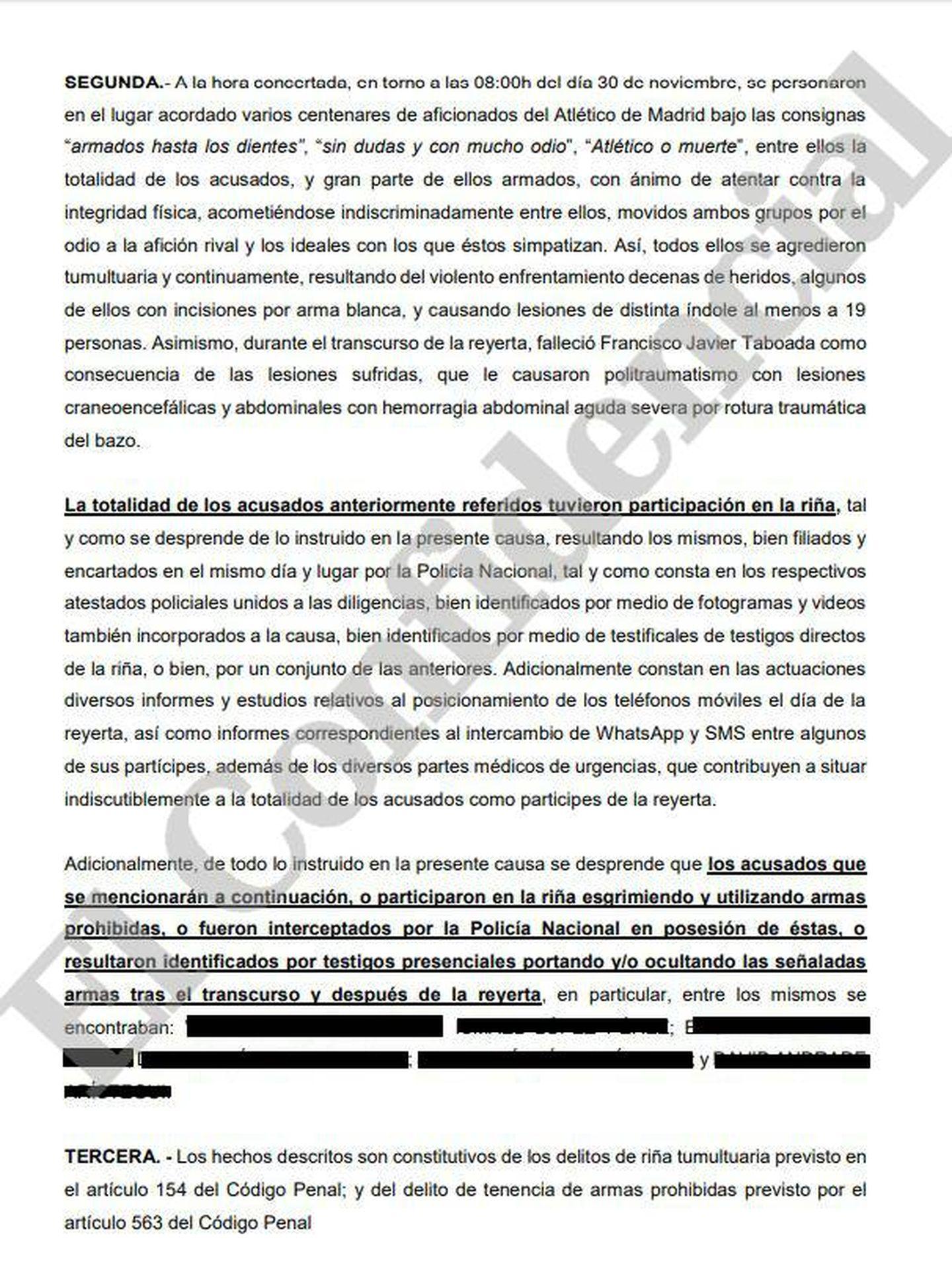 Parte del escrito de acusación al que ha tenido acceso El Confidencial.