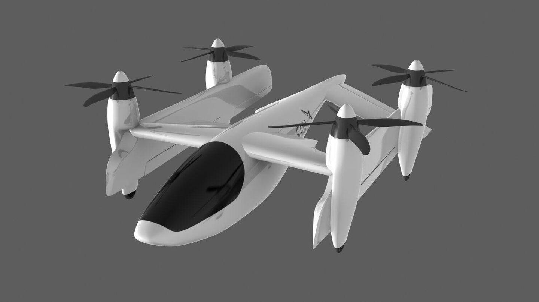 Transwing en posición de despegue y aterrizaje. (Pterodynamics)