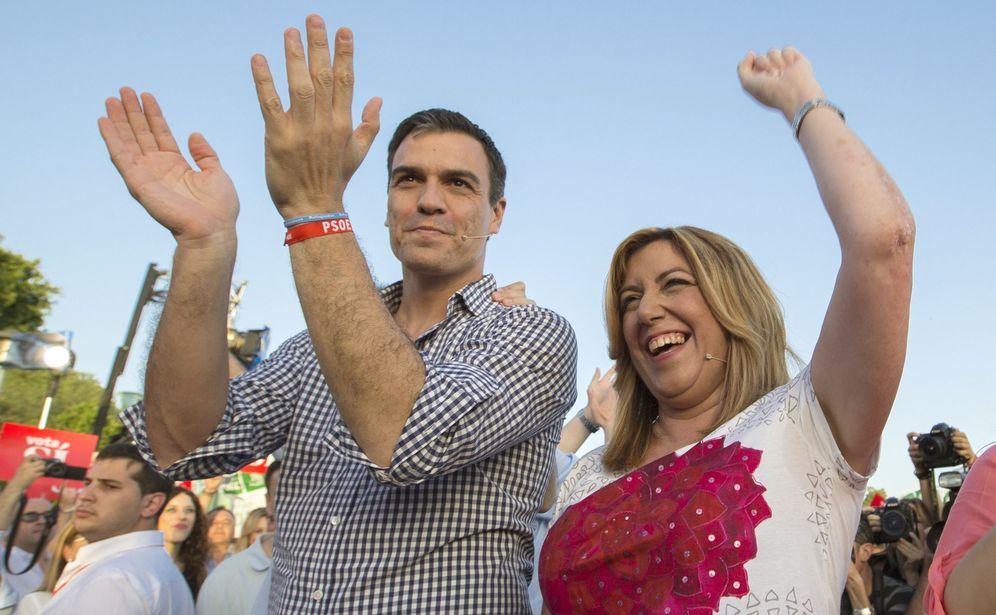 Foto: Pedro Sánchez y Susana Díaz, en el cierre de campaña de las últimas generales, el pasado 24 de junio en Sevilla. (EFE)